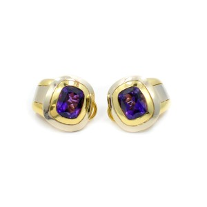 Snapback Clips 18K Two-Tone Gold With Japanese Purple Amethyst