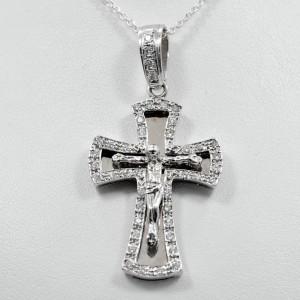"Diamond Cross Crucifix 1.15Ct 14k White Gold 11.7 grams length 1.95"""
