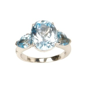 White White Gold Topaz, Diamond Ring Size 6