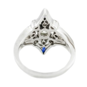 White White Gold Diamond, Sapphire Womens Ring Size 6.75