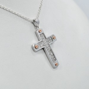 Diamond Cross 0.50CT Pave Setting 14K White Gold with Rose Gold Accents