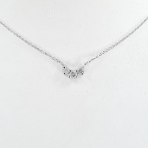 Three Diamonds Necklace 0.5CT 14K White Gold