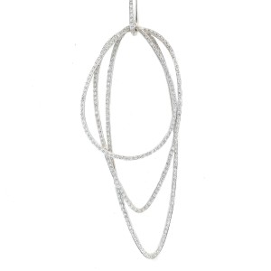 Necklace 14K White Gold Oval Lapping Diamond Pendant 1.54 CT H SI1 14.7 Grams