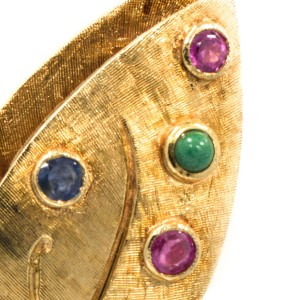 14k Yellow Gold Approximately 1.20CT Beautiful Gem Stones Pin For Women