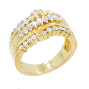 Yellow Gold Diamond Mens Ring Size 6.75