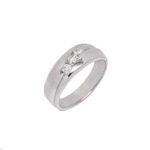 White White Gold Diamond Mens Wedding Ring Size 11