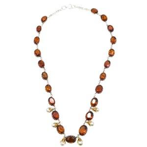 Silver Pearl, Citrine Mens Necklace