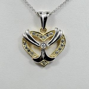 Diamond Heart Pendant White and Yellow 14K Gold 0.60Ct
