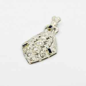 White Gold Diamond and Ceylon Sapphire Beautiful Kite Shape Pendant