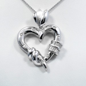 Heart & Tulpan Pendant 14K White Gold 0.40Ct Baguette and Round Diamonds