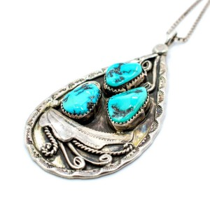 """Vintage 925 Sterling Silver Turquoise Pendant Necklace 24"""""""