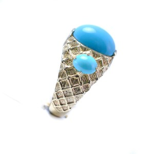 Turquoise Stone 14K Yellow Gold Ring 2.90CT Stone Size 8.5 Weight 9.6grams