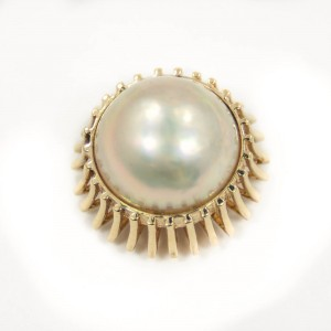 Pearl Pendant In 14K Yellow Gold Cultured Mabe 15mm 7.7 Grams