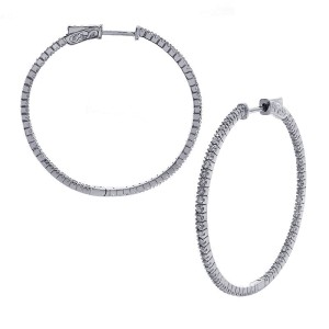 14K White Gold 1.25ct Eternity Diamond Hoop Earrings