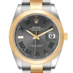 Rolex Datejust 41 Steel Yellow Gold Grey Green Dial Watch