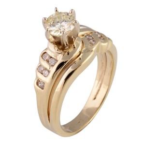 Yellow Gold Diamond Womens Engagement Ring