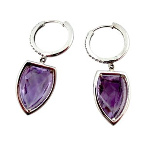 18k White Gold 1.25Ct Natural Amethyst Round Diamonds Earrings
