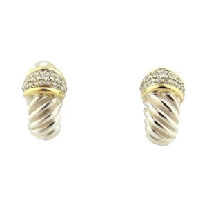 David Yurman 18K Yellow Gold & Sterling Silver Diamond 0.31ct Shrimp Earrings
