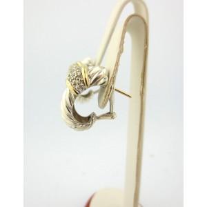 David Yurman 18K Yellow Gold & Sterling Silver Diamond 0.31ct Shrimp Earrings