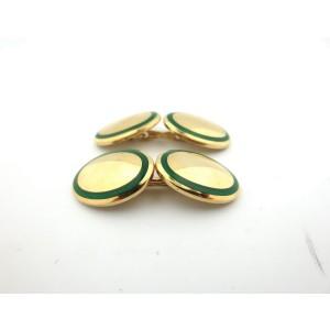 Tiffany & Co. 18K Yellow Gold & Green Enamel Cufflinks