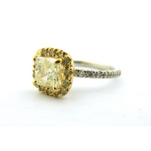 14k Yellow & White Gold 1.29Ct Princess Yellow Diamond Engagement Ring
