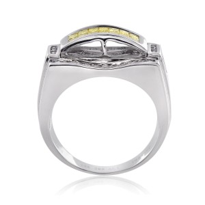 14K White Gold 1.25 Ct Princess Cut Yellow and White Diamond Ring Size 10