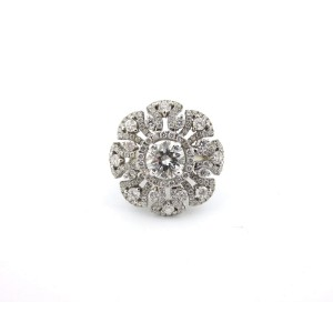 18k White Gold 3.30Ct Round Cut Diamond Flower Anniversary Ring