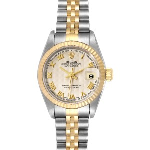 Rolex Datejust Steel Yellow Gold Pyramid Dial Ladies Watch 79173