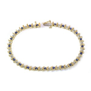 14K Yellow Gold and 0.15ct Diamond and 0.50ct Sapphire Tennis Bracelet