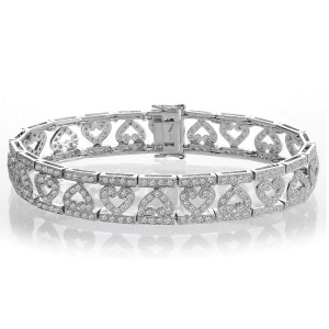 14K White Gold 2.50ct. Diamond Heart Bracelet