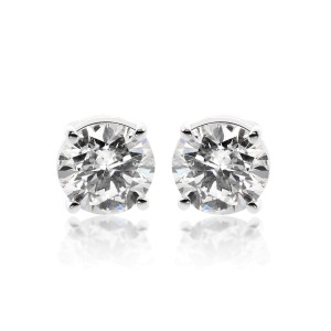 14K White Gold 2.05ct. Round Brilliant Cut Diamond Stud Earrings