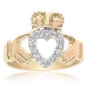 14K Yellow Gold 0.15 Ct Diamonds Irish Claddagh Ring Size 8
