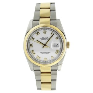 Rolex Datejust 116203 Stainless Steel & 18K Gold White Roman Dial Mens 36mm Watch