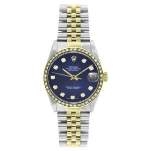 Rolex Datejust 16233 Steel & 18K Gold Blue Diamond Dial 1ct Diamond Bezel Mens 36mm Watch