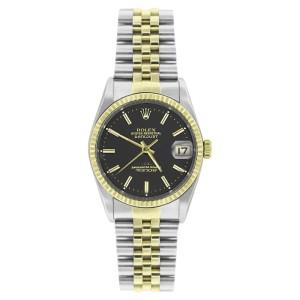 Rolex Datejust 16233 Steel & Gold Black Stick Dial 18K Gold Fluted Bezel Mens 36mm Watch