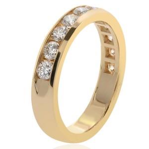 14K Yellow Gold & 1.04ct Diamond Wedding Band Ring Size 7