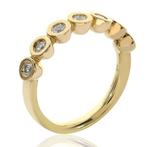 Movado 18K Yellow Gold 0.50 Ct Round Cut Diamond Wedding Ring Size 7