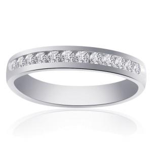 14K White Gold with 0.60ct Diamond Wedding Band Ring Size 10.5