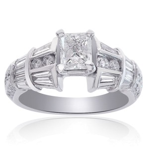 14K White Gold 1.90ct Diamond Engagement Ring Size 6