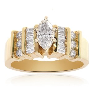 14K Yellow Gold 1.00ct. Diamond Engagement Ring Size 7.00
