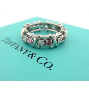 Tiffany & Co. Jean Schlumberger Platinum Diamond and Pink Sapphire Ring Size 6.5