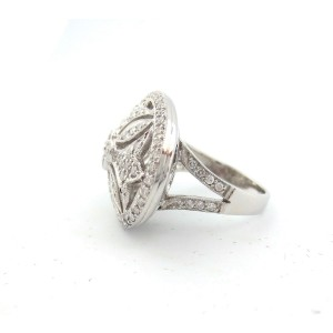 18K White Gold 1.50 Ct Round Diamond Oval Flower Antique Ring Size 7