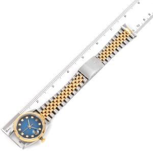 Rolex Datejust Steel Yellow Gold Vignette Diamond Dial Mens Watch 16233