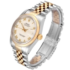 Rolex Datejust Steel Yellow Gold Ivory Roman Dial Mens Watch 16233