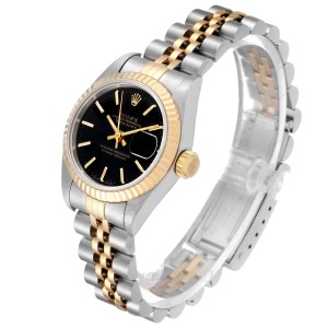 Rolex Datejust Steel Yellow Gold Black Dial Ladies Watch 69173 Tag