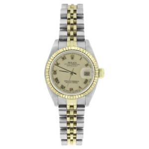 Rolex Datejust 6917 Stainless Steel 18K Yellow Gold Cream Roman Dial 26mm Womens Watch