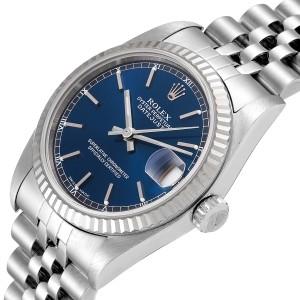 Rolex Datejust Midsize Steel White Gold Blue Dial Ladies Watch 78274