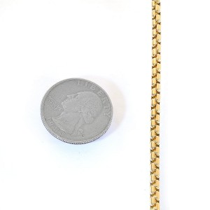 """14K Yellow Gold Round Box Link 16"""" Necklace"""