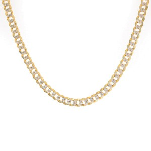 """14K Yellow Gold with Diamond Cuban/Curb Chain 20"""" Necklace"""