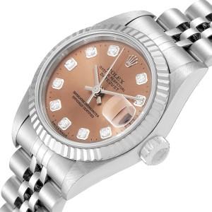Rolex Datejust Ladies Steel White Gold Salmon Diamond Dial Watch 69174